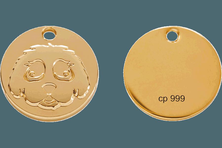 Limitierte, massive Goldmünze 99,9% 24-Karat. Glatt und auf der Rückseite mit Feingold-Stempel. Auf Wunsch mit zusätzlicher, individueller Lasergravur.