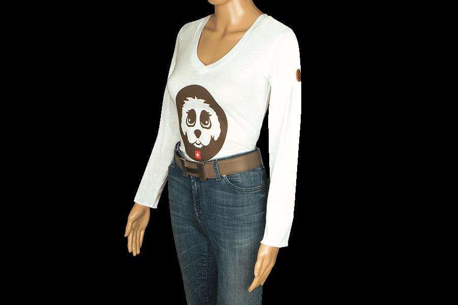 Damen T-Shirt Langarm Silber